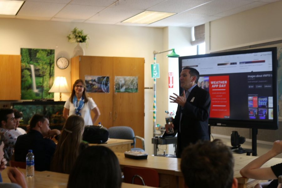 WPXI+meteorologist+Scott+Harbaugh+visited+Ms.+Schmiech%27s+Honors+Meteorology+classes+on+Tuesday%2C+May+28.