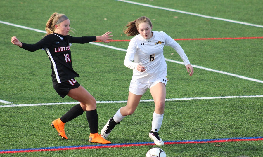 Senior Ava Ruppersberger gains possession over Boyertown in the second round of the PIAA tournament.  The NA girls went on to lose the match 2-3, in overtime.  But their season was one for the record books.