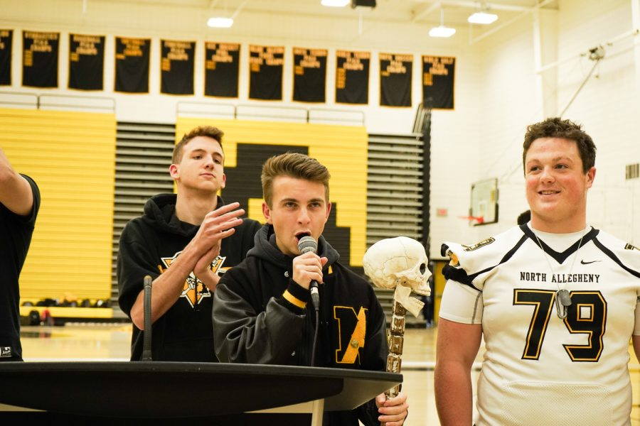 Will Cinker, one of the Student Section Leaders, kicks off the first pep rallies in years at NASH.