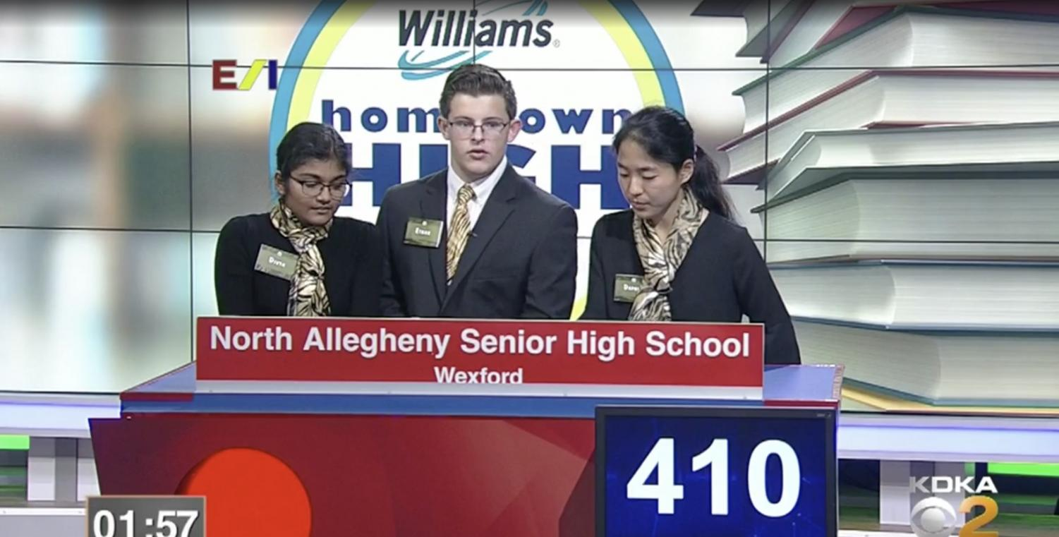 Divya Ramkumar, Ethan Eichelberger, and Daphne Nie put their wits to the test on live local television last month.  The team won and will advance to the Hometown High Q post-season next month.