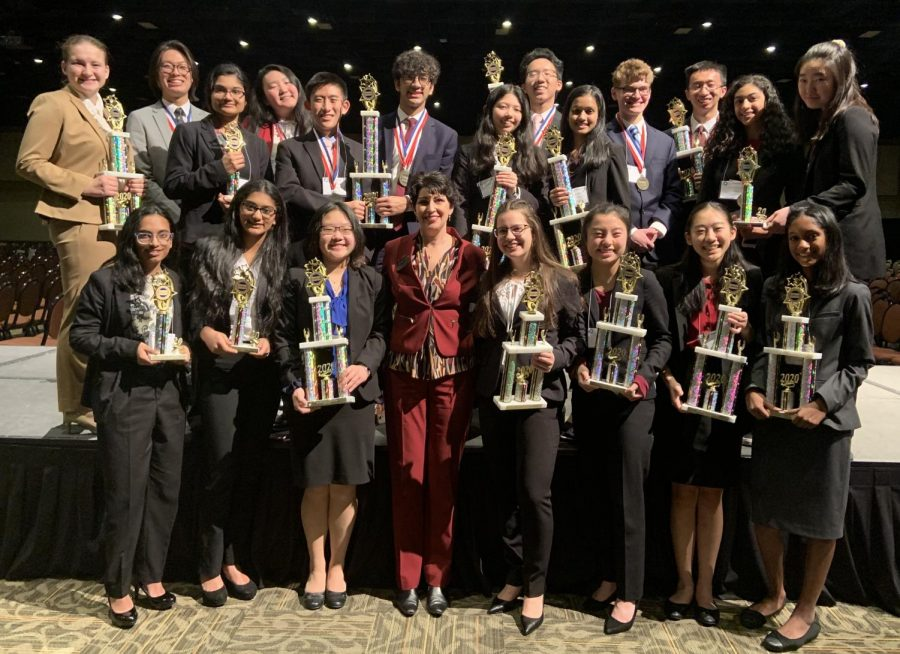 NA DECA students came home from Hershey with a plethora of awards and trophies, seen with the ICDC qualifiers pictured above.
