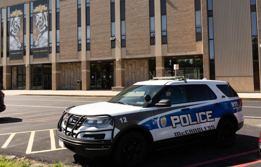 Police officers can be found almost anywhere, including North Allegheny's high school buildings.