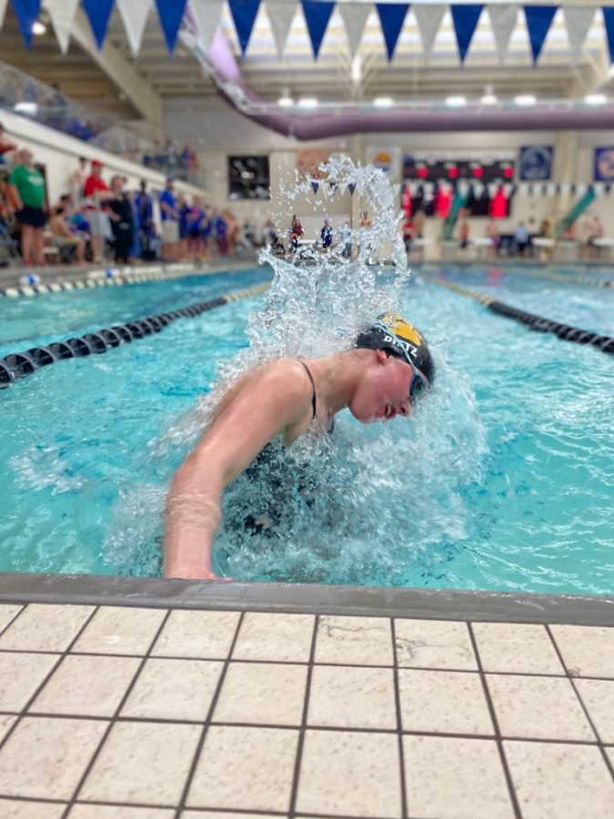 Dietz turning off the last wall; racing to finish her 100 breaststroke.