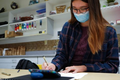 NASH junior Kaitlin Chou begins a sketch in the art room that she will ultimately transform into a vivid and precise digital image.