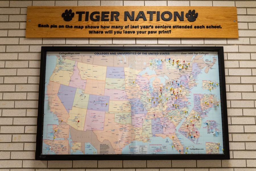 The map outside the NASH Counseling Office has pins for each college that the seniors last year are now attending.  With the arrival of the new senior class, those pins will soon be re-positioned.