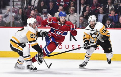 Montreal's Jonathan Drouin fights off Pittsburgh's Crosby and Letang last winter.  The two teams would later meet in the qualifying round of the playoffs, which would spell an early demise for the Penguins.