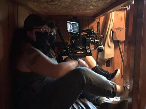Point Park student Leia Christ crammed into a bunk bed to film one of the scenes in her own production.