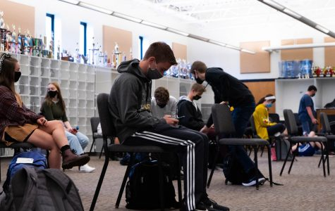 Band classes now typically involve students sitting socially distanced with no instruments in sight.