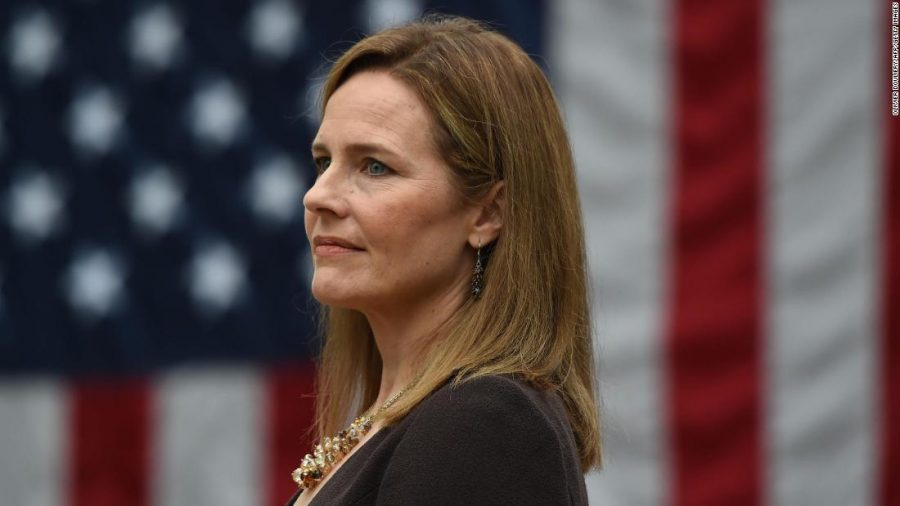 Judge Amy Coney Barrett was nominated to the US Supreme Court by President Donald Trump in the Rose Garden of the White House in Washington, DC on September 26, 2020. - Barrett was confirmed last month to replace Justice Ruth Bader Ginsburg, who died on September 18.