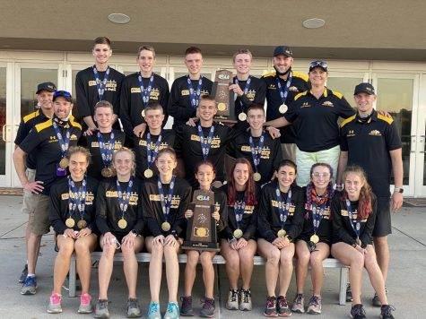 The Cross Country team with their medals and trophy after winning the state championship on Saturday, November 7th.