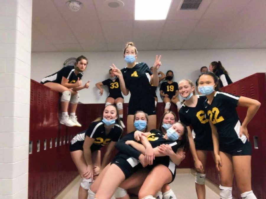 The North Allegheny Girls' Volleyball tTeam gets ready to take on the Landisville Hempfield Black Knights