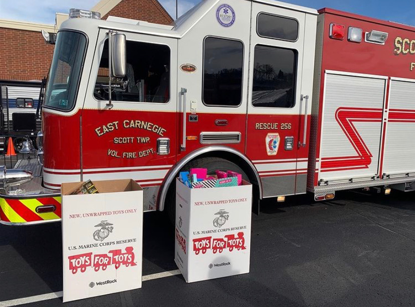 As part of the annual Stuff-a-Bus campaign, fire trucks collected thousands of toys to donate to children in need.