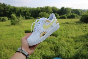 These shoes feature a sunflower design to the demands of fellow NA student Lauren Haywood. They are a perfect option for summer style and match well with any yellow outfit.