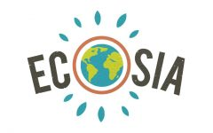 The logo for Ecosia, the world's first environmentally friendly search engine.