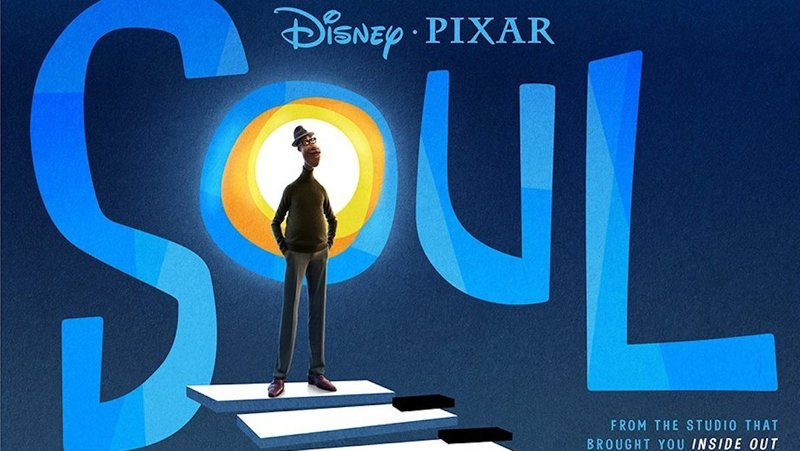 Movie poster for Soul showing Joe Gardner on the way to the Great Before.