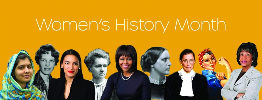 Depicted above are many influential women throughout history, such as Michelle Obama and Malala.