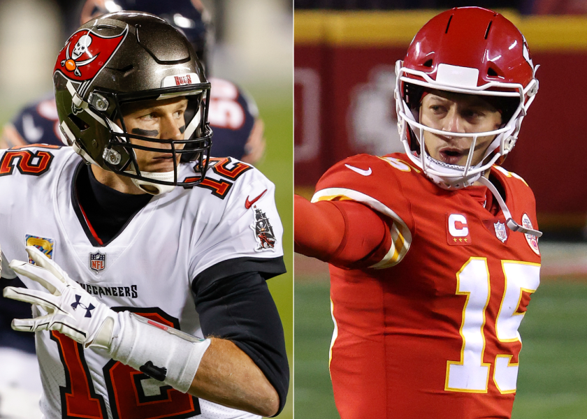Tom Brady, the quarterback from the Tampa Bay Buccaneers showed next to Patrick Mahomes, the Kansas City Chiefs quarterback.