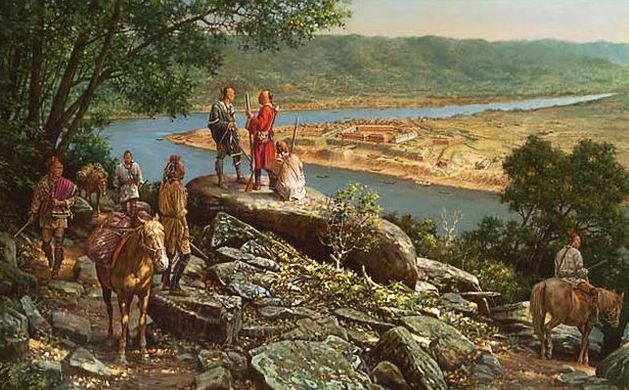 A depiction showing Native Americans overlooking the confluence of rivers that would become the site of Pittsburgh, PA.