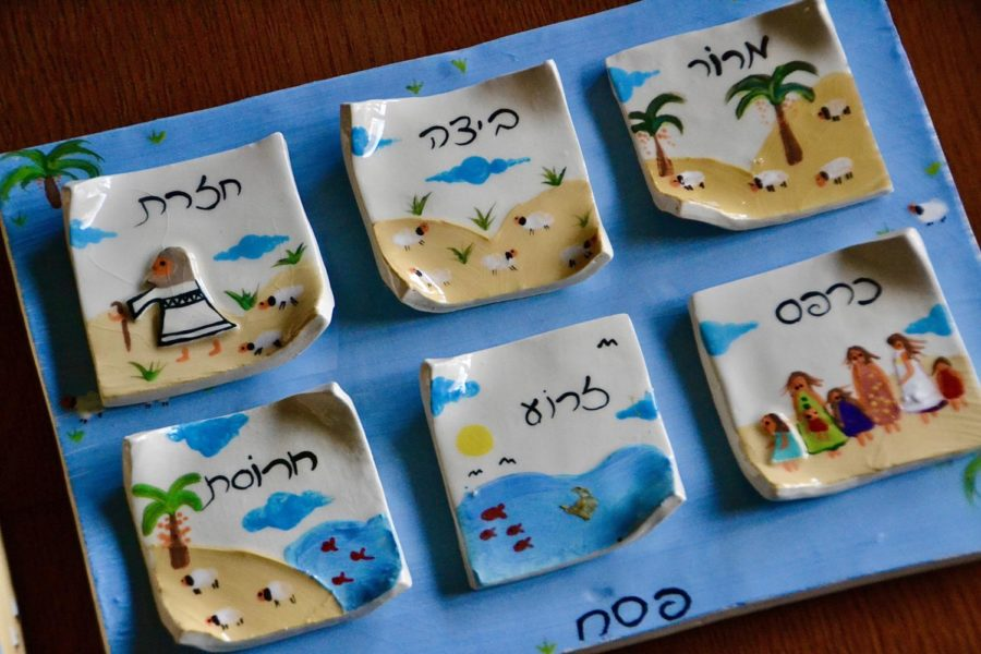 A photograph of my family's unconventional ceramic seder plate for Passover.