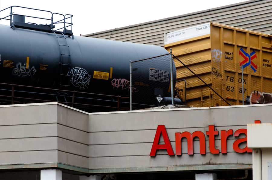 A train enters Pittsburgh's primary Amtrak station located on Liberty Avenue downtown.