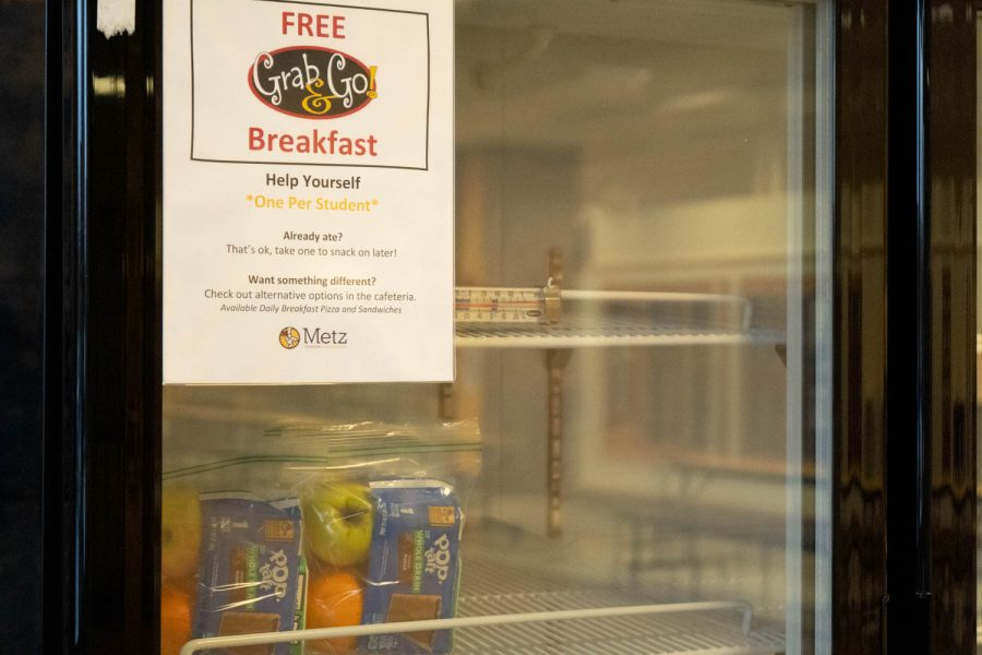 The Grab & Go cooler features cereal bars, fruit, and other breakfasts items, all free of charge to NASH students.