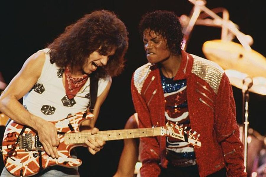 Michael Jackson and Eddie Van Halen at the 1984 MTV Music Awards. These two had some of the biggest impacts on music that year