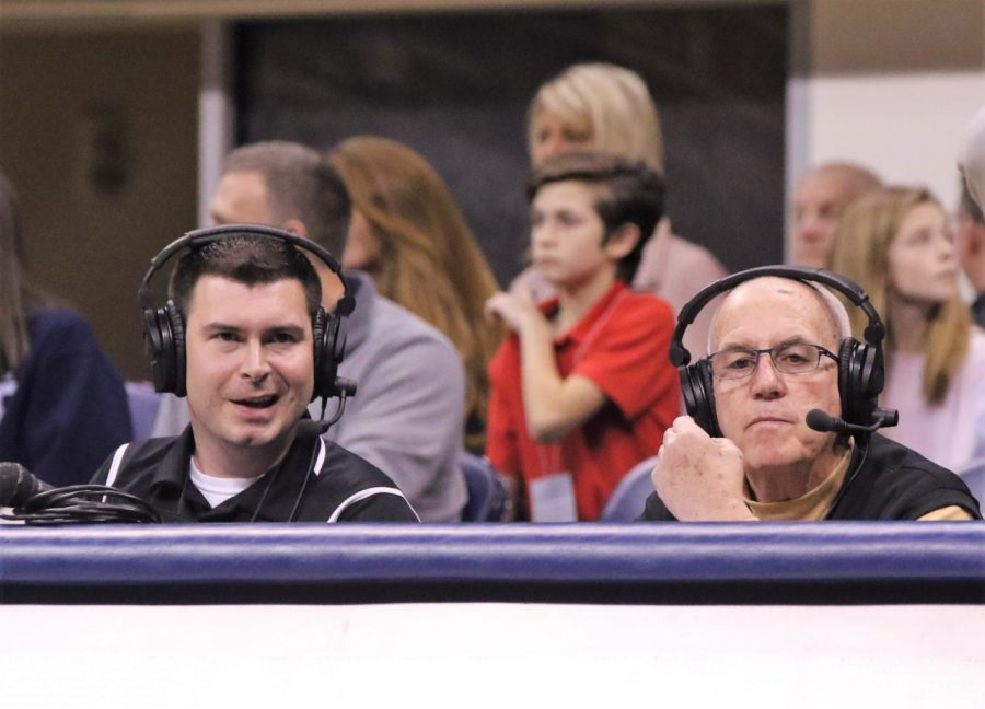 Sports broadcaster Randy Gore (pictured left) has supplied North Allegheny with play-by-play updates for over ten years.  Seated to the right is color commentator Rick Meister.