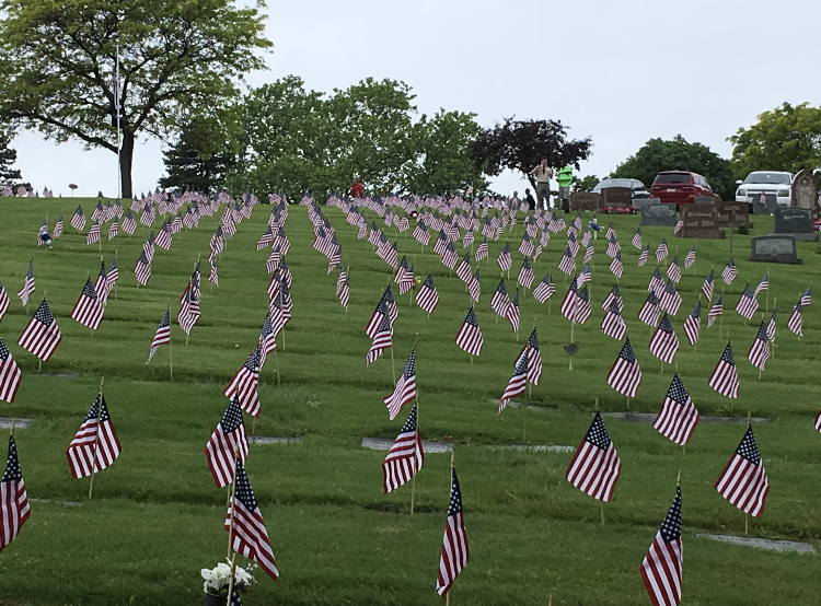 Over 600 flags planted by Boy Scouts Troop 81 over a field in Pittsburghs North Hills, honoring the lives of men and women who have died in combat.