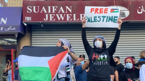 One of the many protests for Palestinian liberation that have taken place around the globe, this one being in Bay Ridge, Brooklyn.