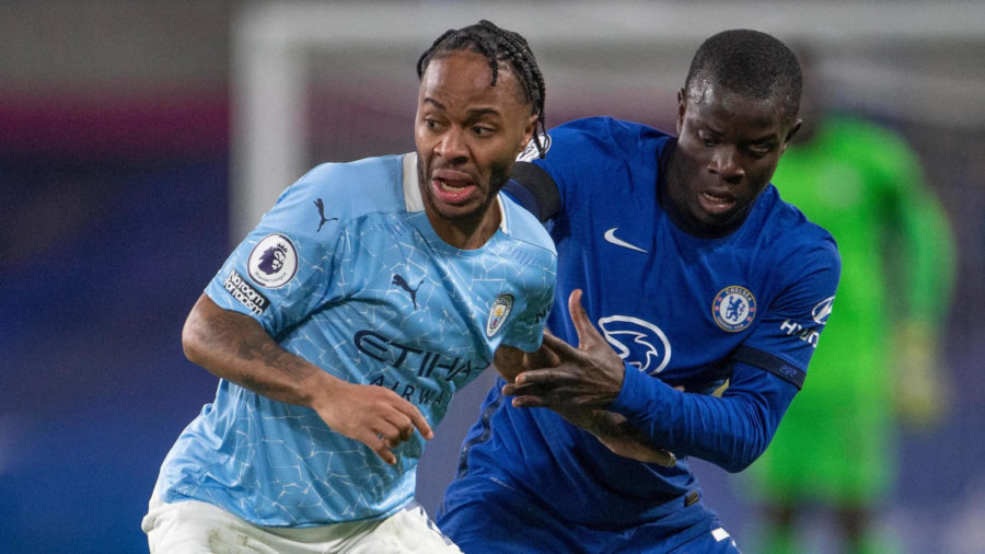 Raheem Sterling and N'golo Kante battled in Manchester City's 3-1 win at Stamford Bridge earlier this season