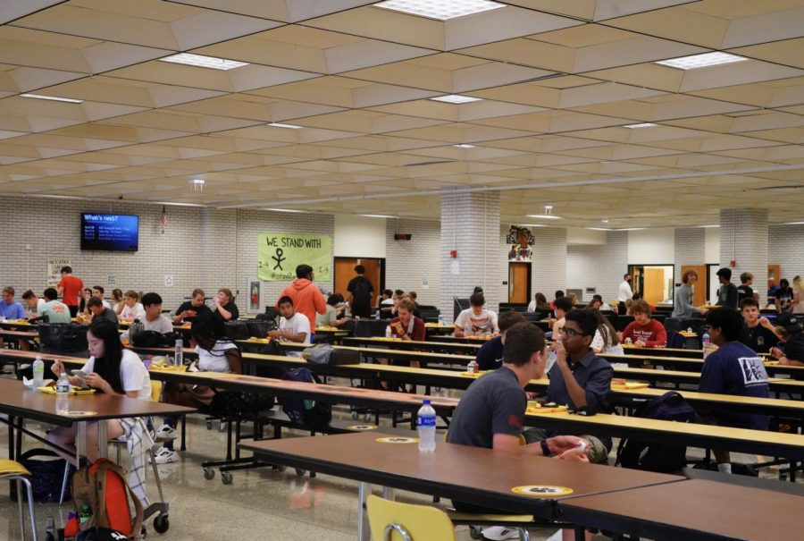 The lunch periods on the first day of school required students to sit at a safe distance, a precautionary measure carried over from last year to minimize the chance of a virus-related school closure.