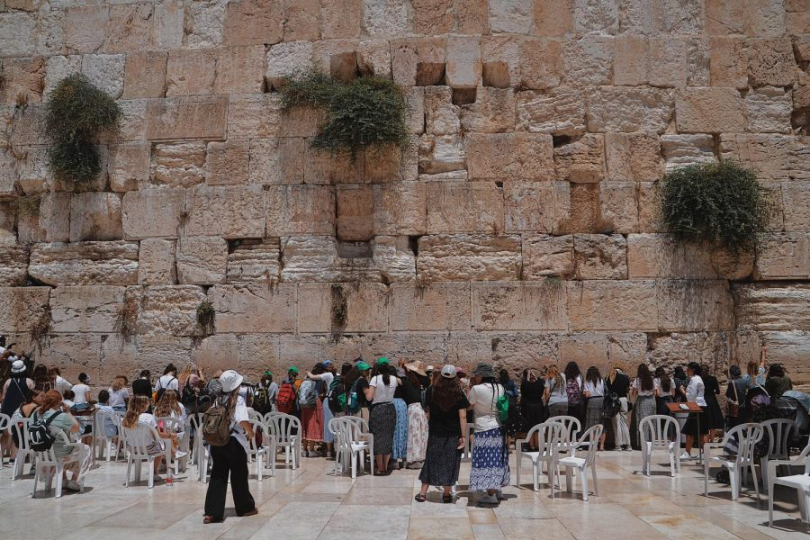 The women's side of the Western Wall (also referred to as the Kotel) in Jerusalem. This is considered to be one of the holiest sites in the world.