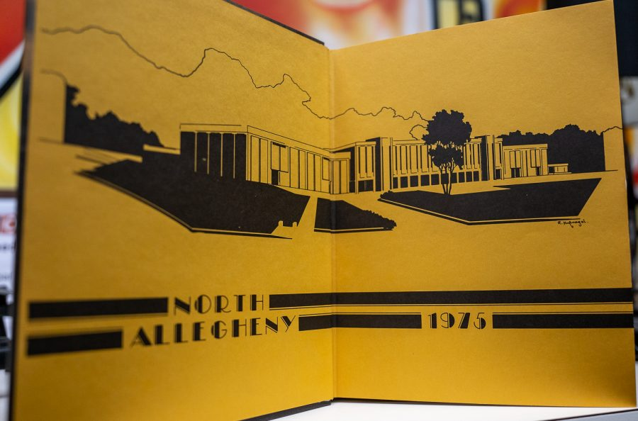 The inside cover of the 1974-1975 NASH yearbook included this artistic interpretation of the school.