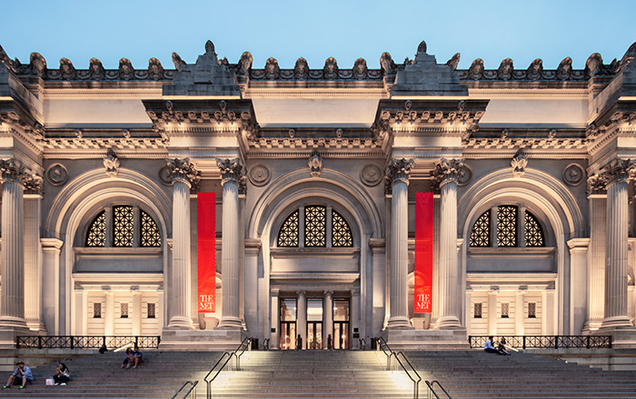 The picture shows an outside view of the Metropolitan Museum of Art, which is where the Met Gala is held.