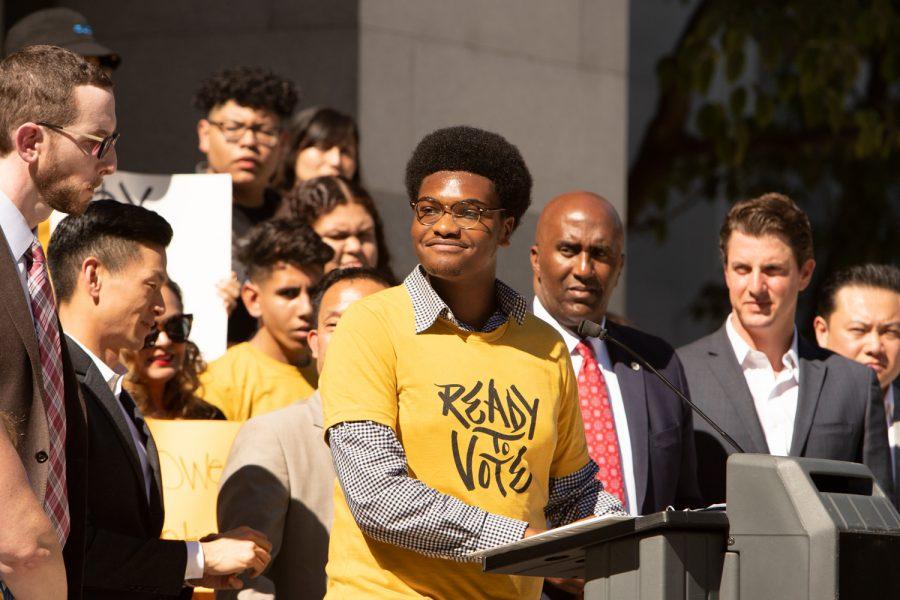 Activist+Tyler+Okeke+speaks+on+voting+rights+for+16-year-olds