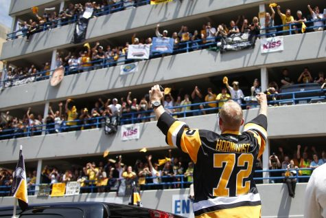 The Pittsburgh crowd during the Penguins parade was massive. The image above shows just a small amount of people who showed out to celebrate the champions. They hope that they can  throw a parade like this again after this season.