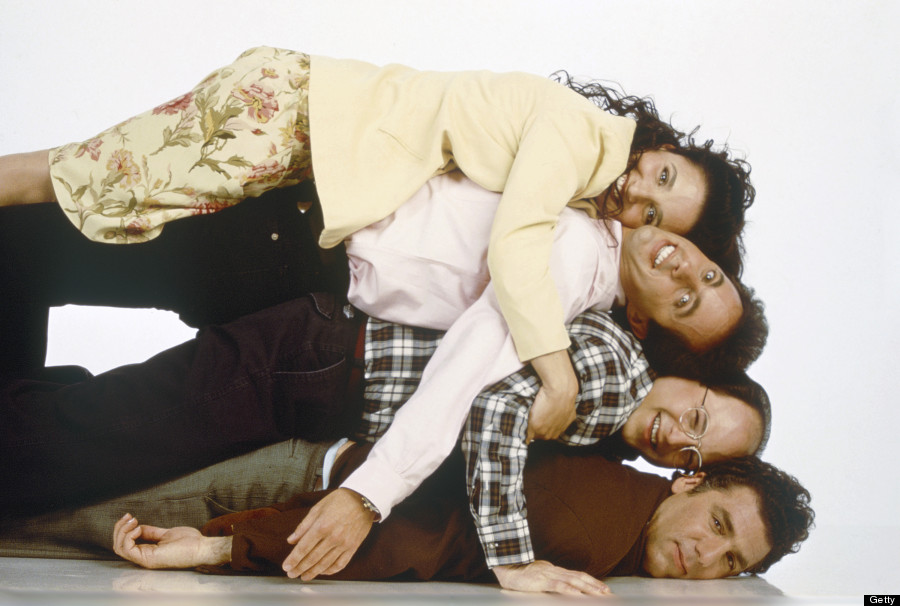The cast of Seinfeld poses during a comedic promotional photoshoot for the show.