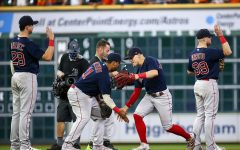Oct 16, 2021; Houston, Texas, USA; Boston Red Sox center fielder Enrique Hernandez (5) and third baseman Rafael Devers (11) celebrate after the Red Sox defeated the Houston Astros in game two of the 2021 ALCS at Minute Maid Park. Mandatory Credit: Troy Taormina-USA TODAY Sports